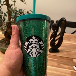 Starbucks 2018 Holiday Green Glitter Cold Cup